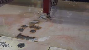 CNC machine for waterjet. Cutting sheet metal stock video footage