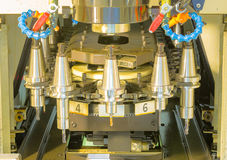 CNC machining center tool change magazine close up Stock Photos