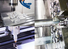CNC machining cutting precision part Stock Image