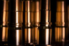 CNC made ready golden pipes details for water, oil and aerospace Stock Photo