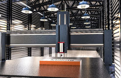 Cnc-Maschine im Lagerhangar Lizenzfreies Stockfoto