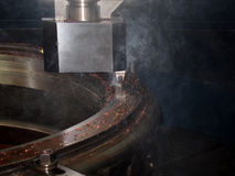CNC metal lathe machine Royalty Free Stock Photos