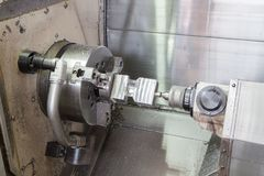 Cnc metal milling machine - lathe processes royalty free stock images