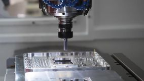 CNC metal processing machine. Milling machining centers CNC for metal processing stock footage