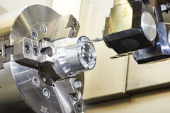 Cnc metal working machining center with cutter tool Stock Photos