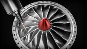 Cnc mielenia aluminiowa turbina w pięć osi maszynie Obraz Royalty Free