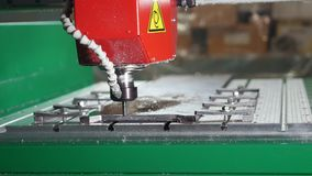 CNC milling or drilling machine. Close up stock video