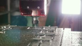 CNC milling or drilling machine. Close up stock footage