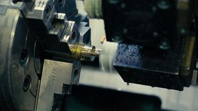 CNC milling machine makes some steel part stock footage