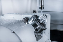 CNC milling machine during operation. Royalty Free Stock Photos