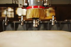 Cnc milling machine, woodwork industry. Tool with computer numerical control. Woodwork industry stock images