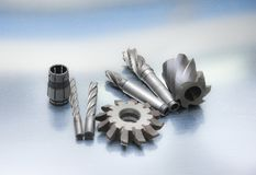 CNC milling machines royalty free stock images