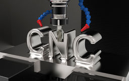 CNC milling. Metalworking CNC milling machine. Cutting metal with CNC Text Stock Photo