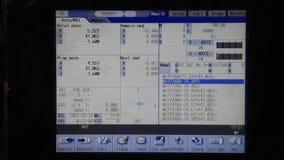 Cnc-program som kör på skärmskärmen stock video
