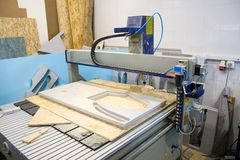 CNC router machine. Creates a layout of the residential complex Stock Photo