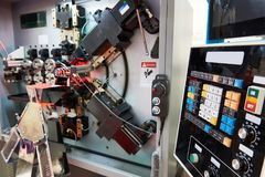 Cnc spring making machine Royalty Free Stock Images