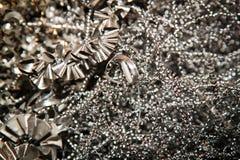 CNC steel shavings. Shiny metal shavings from CNC Stock Photo