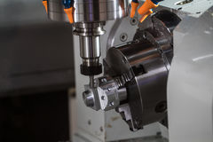 CNC turning center. Fast, precise and productive gang type CNC turning center Royalty Free Stock Image