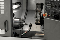 CNC turning center. Fast, precise and productive gang type CNC turning center Stock Photo