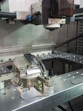 CNC wire cut machine cutting mold parts Stock Image