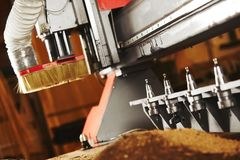 Cnc wood cutting cutter, machine with numerical control. Cnc wood cutting cutter. Machine with numerical control, various router bits royalty free stock images