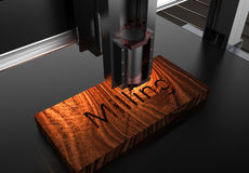 CNC wood machining by mill. CNC wood machining by milling stock illustration