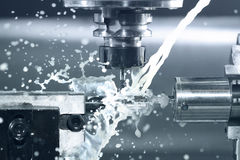 CNC at work. Close up of CNC machine at work Royalty Free Stock Photo
