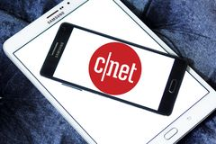 CNET media website logo. Logo of CNET media website on samsung mobile. CNET is an American media website that publishes reviews, news, articles, blogs, podcasts stock photos