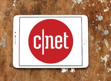 CNET media website logo. Logo of CNET media website on samsung tablet. CNET is an American media website that publishes reviews, news, articles, blogs, podcasts stock photos