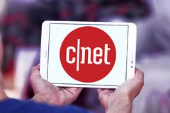 CNET media website logo. Logo of CNET media website on samsung tablet. CNET is an American media website that publishes reviews, news, articles, blogs, podcasts stock image
