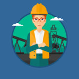 Cnfident oil worker. A female oil worker in uniform and hard hat. An oil worker with crossed arms. An oil worker standing on a background of pump jack. Vector Stock Image