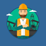 Cnfident oil worker. A hipster oil worker in uniform and helmet. An oil worker with crossed arms. An oil worker standing on a background of pump jack. Vector Royalty Free Stock Photography