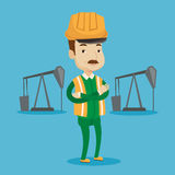 Cnfident oil worker vector illustration. An adult oil worker in uniform and helmet. Cnfident oil worker standing with crossed arms. An oil worker standing on a Stock Images