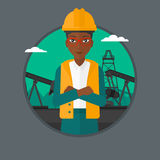Cnfident oil worker vector illustration. African-american oil worker in uniform and hard hat. An oil worker with crossed arms. Woman standing on a background of Royalty Free Stock Image