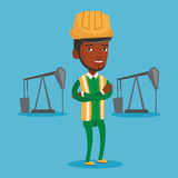 Cnfident oil worker vector illustration. Royalty Free Stock Photo