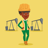 Cnfident oil worker vector illustration. An african-american oil worker in uniform and helmet. Cnfident oil worker standing with crossed arms. Oil worker Royalty Free Stock Photo