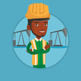 Cnfident oil worker vector illustration. African oil worker standing with crossed arms. Oil worker in uniform and helmet. Oil worker standing on background of Royalty Free Stock Photography