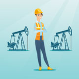 Cnfident oil worker vector illustration. Caucasian oil worker in uniform and helmet. Cnfident oil worker standing with crossed arms. Female oil worker standing Royalty Free Stock Photo