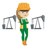Cnfident oil worker vector illustration. Caucasian oil worker in uniform and helmet. Oil worker standing with crossed arms. Oil worker standing on the Royalty Free Stock Images