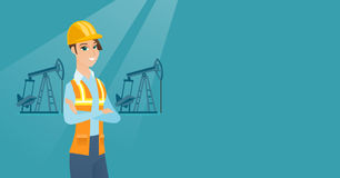 Cnfident oil worker vector illustration. Caucasian oil worker in uniform and helmet. Cnfident oil worker standing with crossed arms. Young oil worker standing Stock Image