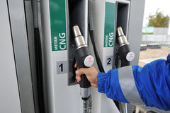 CNG. Fueling station with CNG natural gas alternative Royalty Free Stock Photo