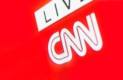 CNN商标照片在电视显示器屏幕上的 库存照片