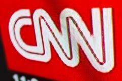 CNN商标照片在电视显示器屏幕上的 库存图片