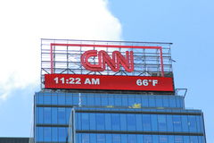 CNN Banner. A CNN Banner on top of one of the buildings at Columbus Circle, New York City Royalty Free Stock Photo