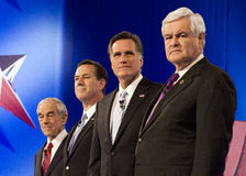 CNN Republican Presidential Debate 2012. Republican presidential hopefuls, Mitt Romney, Ron Paul, Newt Gingrich, and Rick Santorum, faced for the final debate on Royalty Free Stock Photos
