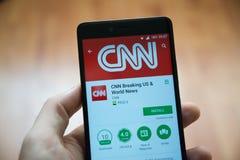 CNN som bryter applikation i Google leklager royaltyfri foto