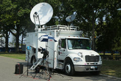 CNN truck in the front of National Tennis Center Royalty Free Stock Photos