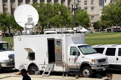 CNN TV satellite truck royalty free stock photography