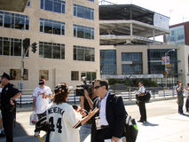 CNN TV Reporter does a interview with giants fan Royalty Free Stock Image