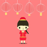 Cny boy. Chinese boy in cheongsam dress and many lamp on red background Royalty Free Stock Images